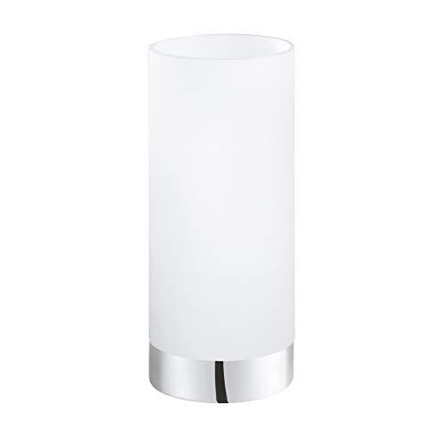 EGLO Tischlampe Damasco 1, 1 flammige Tischleuchte, Nachttischlampe aus Stahl, Farbe: Chrom, Glas: satiniert, weiß, Fassung: E27, inkl. Schalter