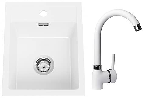 Spülbecken Weiß 40 x 50 cm, Granitspüle + Küchenarmatur + Siphon, Küchenspüle ab 40er Unterschrank, Einbauspüle von Primagran