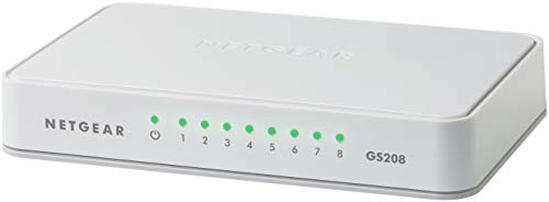 Netgear GS208 8-Port Gigabit Ethernet LAN Switch (Netzwerk-Switch für Desktop, Plug-and-Play, lüfterlos)