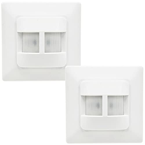 Detector de movimiento empotrado, 2 unidades, 180°, alcance de 9 m, adecuado para LED, repuesto para un interruptor, color blanco