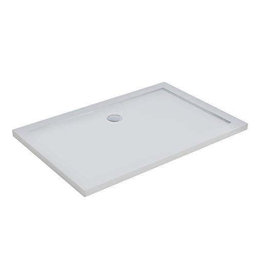 Piatto Doccia 80x120 Rettangolare Acrilico Bianco Lucido Ultraslim Altezza 4cm Piletta Inclusa