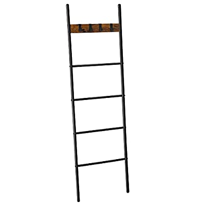 VASAGLE Blanket Ladder, 5-Tier Ladder Shelf, 17.3 x 63 Inches, Space-Saving Decorative Ladder with 4 Hooks, Metal Frame, Industrial Style, Rustic Brown and Black ULLS016B01