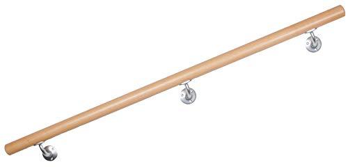 Handlauf Buche, lackiert, Treppengeländer mit stabilen Handlaufhaltern (2.10m)