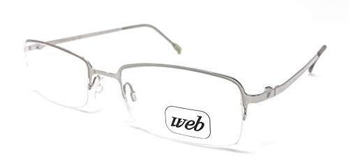 WEB Gafas de vista unisex 2311 de plata 028L, rectangulares, de nailon, calibre 50