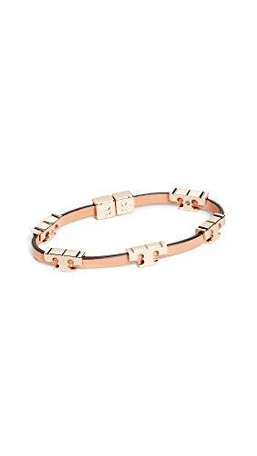 Tory Burch Women's Serif T Wrap Bracelet, Tory Gold/Coconut/Vachetta, One Size