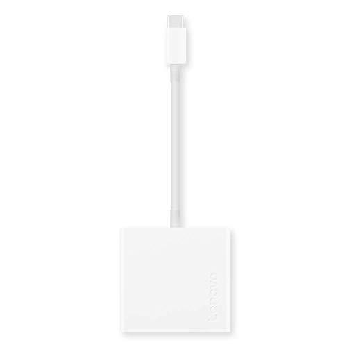 Lenovo USB-C 3-in-1 Travel Hub, 4K HDMI, VGA, USB 3.0, Simple Plug and Play, Only at 0.08 lbs, White, GX90T33021
