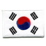 Applikation Flagge: Südkorea Iron on Patch Med S-105