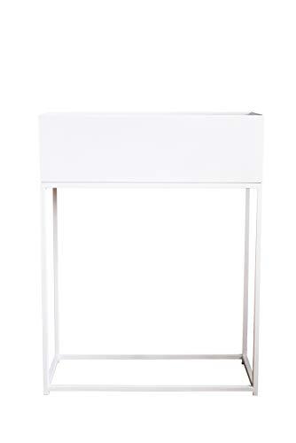 VIVANNO Pflanzbox Hochbeet Dekobox pulverb. Stahlblech Style 78x60x25 cm, Weiß Matt