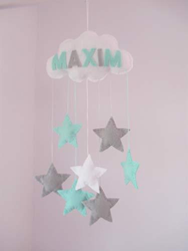Filz Wolke Baby Mobile, Mit oder ohne Namen, kinderzimmer, grau und mint grün,Sternen. Erhältlich in vielen Farben!