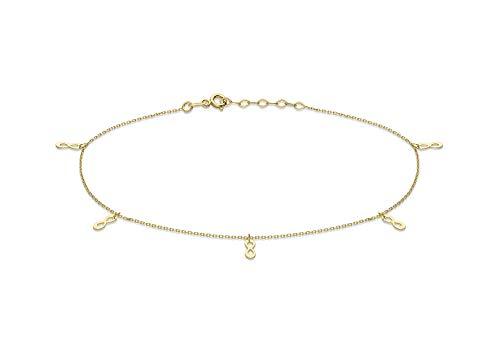 Carissima Gold Pulsera de Tobillo Ajustable 'Figura 8' 3mm x 8.3mm Oro Amarillo 9 Quilates para Mujer 23cm/9'-25.5cm/10'