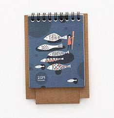 Bureze 2019 estilo fresco DIY animales gato flamenco mini escritorio calendario de papel doble planificador diario tabla planificador anual agenda organizador