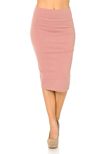 Auliné Collection Womens Solid Fitted High Waist Stretch Midi Ponte Pencil Skirt Blush L