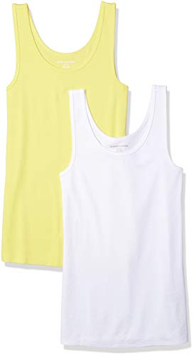 Amazon Essentials Damen Tanktop, schmale Passform, 2er-Pack, Mehrfarbig (Yellow/White), Medium