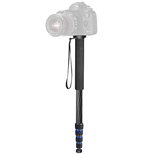 Neewer, 10090650, Carbon Fiber Monópode, 5 Secciones Soporte Ajustable Portable de 48-163 cm con Bolsa de Transporte hasta 10 Kg para Canon Nikon Pentax Sony Olympus DSLR