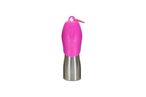 KONG H2O Botella de agua para perro de acero inoxidable y tazón de viaje para mascotas, 25 onzas - Rosa