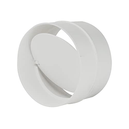 Verbinder mit Rückstauklappe Rückschlagklappe Verbindungsstück Lüftungsrohr Rundkanal Lüftungsanlage Rohrverbinder Ø 100 mm weiß