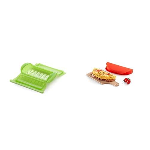 Lékué - Estuche De Vapor Con Bandeja, 1-2 Personas, Capacidad: 650 Ml, Color Verde + - Recipiente Para Cocinar Tortillas Francesas En Microondas, Color Rojo