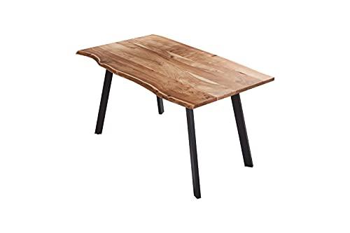 SAM Esszimmertisch 120x80 cm Laxmi, echte Baumkante, naturfarben, massiver Esstisch aus Akazienholz, Baumkantentisch mit Vier Metallbeinen Schwarz