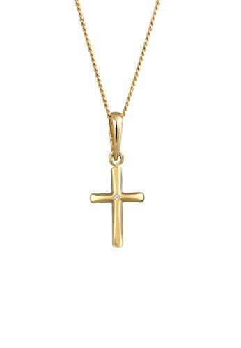DIAMORE Halskette Damen Kreuz Glaube Edel mit Diamant (0.01 ct.) in 585 Gelbgold