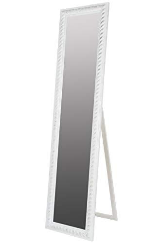 elbmöbel Standspiegel groß antik weiß Patina Spiegel Fuß barock Holz Landhaus-Stil Badspiegel Schminkspiegel Frisierspiegel Ankleidespiegel
