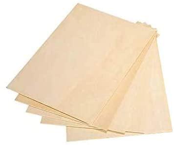 LAC 5 x A4 contrachapado panel de madera bruta hojas de abedul | 300 x 210 x 3 mm | Tabla báltica | Ideal para pirografía, corte láser, rutador, modelar, perforado