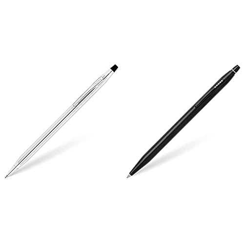 Cross bolígrafo utrasuave brillante cromo ref 3502 + Click AT0625-2 Bolígrafo de tinta de gel, Negro/Plateado