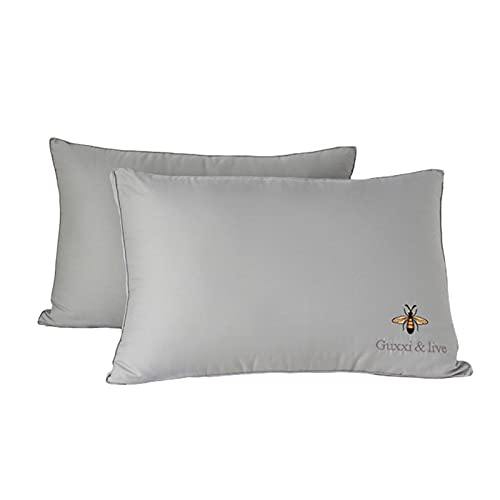 CAIER 100% cotone morbido cuscino in fibra di soia lavabile cuscino morbido hotel qualità cuscini per schiena pancia e traversine laterali grigio alto cuscino 40 * 59 pollici