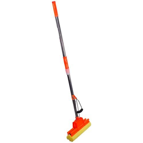 Yorten Floor Cleaning Squeeze Mop with Adjustable Telescopic Handle Squeegee Absorber Sponge Cleaner Pocha for Home Kitchen Bathroom, Stainless Steel (Multicolor),Design 62