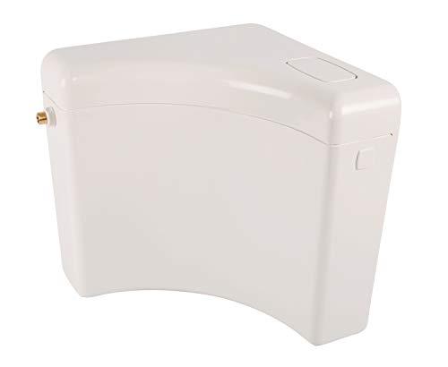 Calmwaters® Eck-Spülkasten mit Spül-Stopp-Funktion, 6-9 Liter Spülmenge, Eckspülkasten Retro Cross, Weiß, platzsparend, Aufputzspülkasten, Spülkasten Ecke, Start-Stopp-Taste, 29HB2733