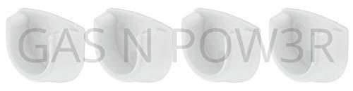4 soportes para extremo de riel blanco para uso con barras de armario ovaladas de 20 mm