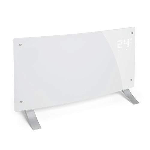 Klarstein Bornholm Curved Elektro-Heizung E-Heizung Konvektionsheizgerät Heizgerät (1000 oder 2000 Watt, 5-45°C, LED-Touch Display, ECO-Modus, 24 h Timer, Fernbedienung) milchweiß