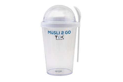 TOK Müslibecher to go/Joghurt to go Becher mit Löffel/komplett dicht, BPA frei, wiederverwendbar / 450 ml Becher & 150 ml Deckel/Reise-Müsli-Becher für den gesunden Snack unterwegs/Weiß