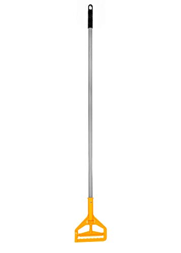 Alpine Industries Commercial Quick-Change Iron Mop Handle - Professional Mopping Tube w/Metal Gripper for Rags - Heavy Duty Stick & Mop Head Replacement Holder (Fiberglass)