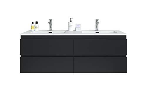 Badezimmer Badmöbel Set Angela 140cm Schwarz - Unterschrank Schrank Waschbecken Waschtisch