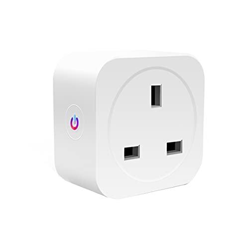 Enchufe inteligente inteligente – 16 A Mini toma WiFi compatible con Alexa, Google Home, enchufe inalámbrico, control remoto, enchufe USB para el hogar, oficina, no requiere concentrador, solo 2,4 GHz