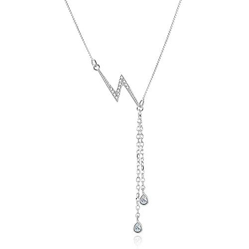 Versión coreana de la cadena de clavícula simple roja neta diseño femenino sense ins collar de relámpago diamante suave S925 collar de plata estándar-Oro rosa