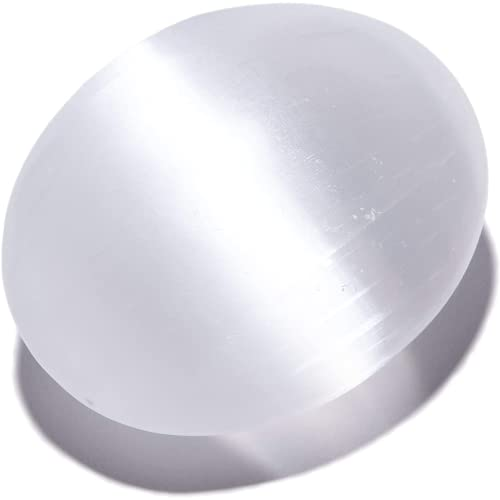 Kalifano Selenite Worry Stone With Healing &Amp; Calming Effects - High Energy Palm Stone Used For Cleansing And Protection (Information Card/Certificate Of Authenticity Included)