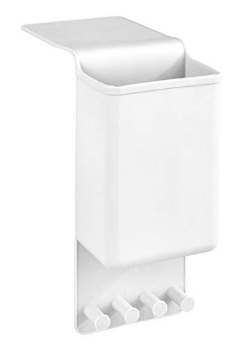 WENKO Glätteisenhalter Ampio Weiß - Wandhalterung für Glätteisen, Befestigen ohne Bohren, Silikon, 10 x 36.5 x 6.5 cm, Weiß