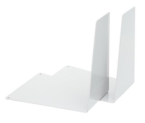 Alco-Albert 4304-10 podpórek do książek, metalowe, 120 x 140 x 145 mm, w kształcie klina, 1 para, białe