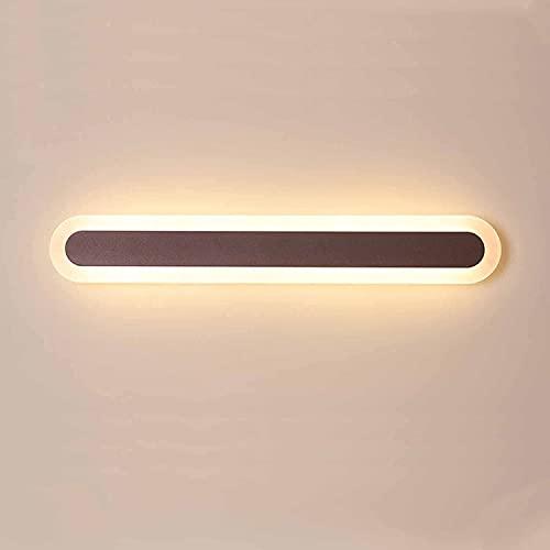 QEGY Luz delantera de espejo marrón con 3 colores de color, espejo de baño de acrílico luz de pared de estilo nórdico IP44 Gabinete de espejo impermeable enciende la luz de maquillaje hacia abajo para