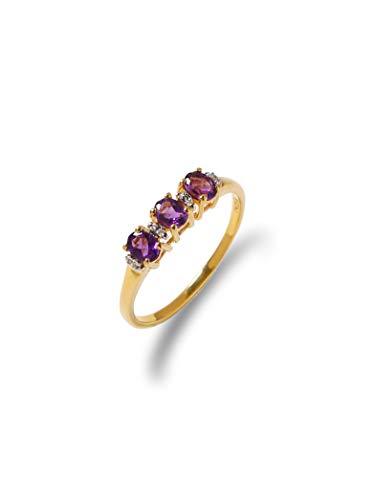 YoTreasure 0.46 Ct. Purple Amethyst Solid 10K Yellow Gold Eternity Band Ring