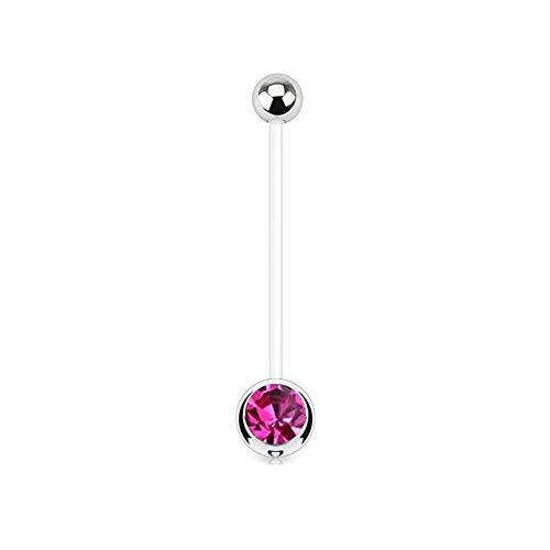 Gekko Body Jewellery Bauchnabelpiercing Schwangerschaftsbandage mit pinker Kugel aus BioFlex