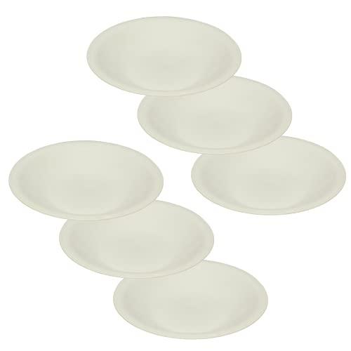 ENGELLAND 6 platos hondos para comida, picnic, jardín, barbacoa, accesorios de plástico, aptos para microondas y lavavajillas, color blanco