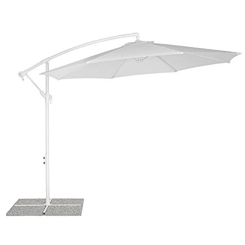 Estosa - Ombrellone ILLINOIS bianco diametro telo 300 cm e altezza 260 cm, apertura facilitata con manovella, base NON inclusa, verniciato a polvere e trattato per uso...