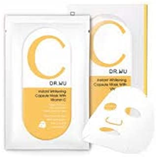 DR. WU Instant Whitening Capsule Mask with Vitamin C 3's -Application not only Lighten The Skin and Reduce Dark Spots but Also Refine Loss of Elasticity, Dull and Uneven Skin Tone