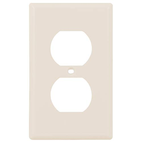 """Power Gear Outlet Wall Plate Cover, 1 Gang, Standard, Unbreakable Faceplate, 2.75"""" x 4.5"""", Screws Included, Light Almond, 11673 Duplex Receptacle Wallplate, 1 Pack"""