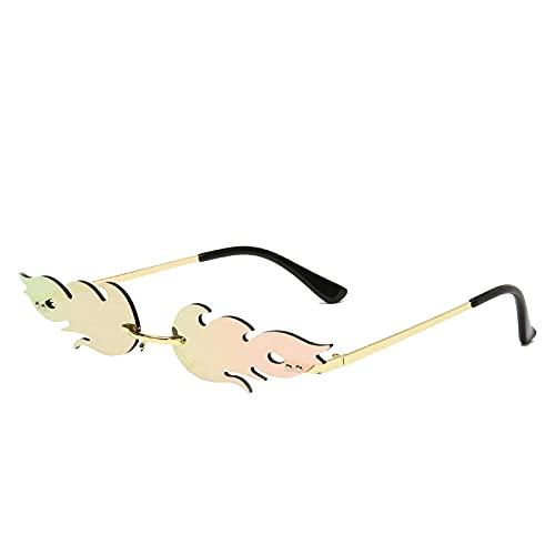 ZJSK Gafas de sol para mujer, sin montura, con ondas, gafas de sol, pantallas de metal para mujer, espejo Eyewear-5