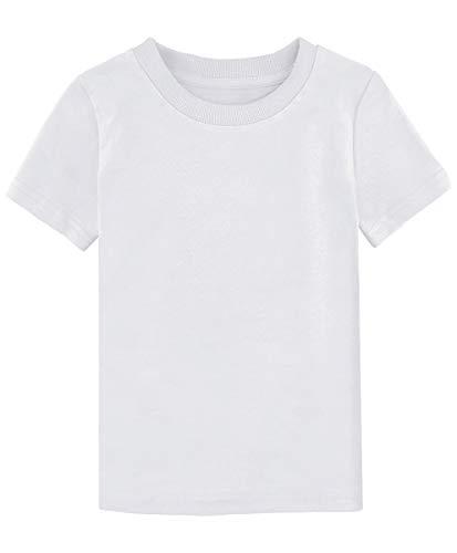 MOMBEBE COSLAND Camisetas Blanca Niños Corta Algodón T-Shirt (Blanca, 3 Años)