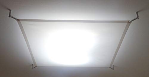 STUDIO-LICHTSEGEL SCREENBASE ca. 140x140 cm, TEXTILES DECKENSEGEL FÜR LED LAMPE und DECKENLEUCHTEN, TEXTILE LIGHT SAIL for LED PANEL (ohne Hardwareset + Lampe)