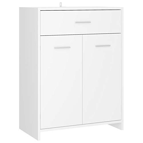 Tidyard Gabinete de Baño,Mueble de Baño Auxiliar, Armario para Baño Armario de Cuarto de baño aglomerado Blanco 60x33x80 cm